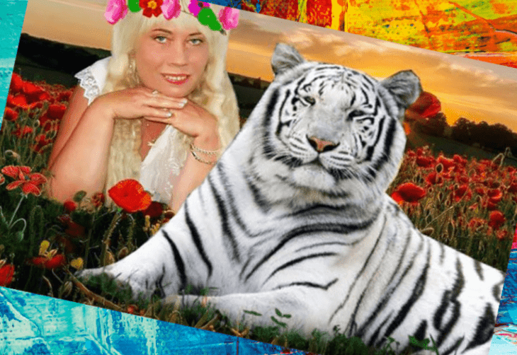 Женщина с белым тигром
